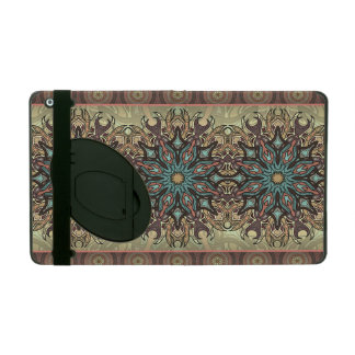 Colorful abstract ethnic floral mandala pattern iPad folio case