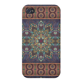Colorful abstract ethnic floral mandala pattern iPhone 4 covers