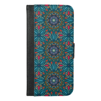 Colorful abstract ethnic floral mandala pattern iPhone 6/6s plus wallet case