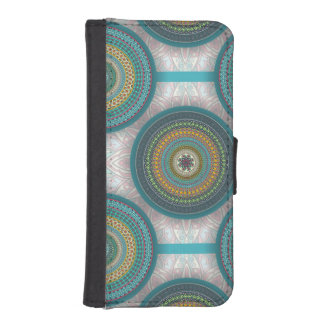 Colorful abstract ethnic floral mandala pattern iPhone SE/5/5s wallet case