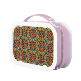 Colorful abstract ethnic floral mandala pattern lunch box