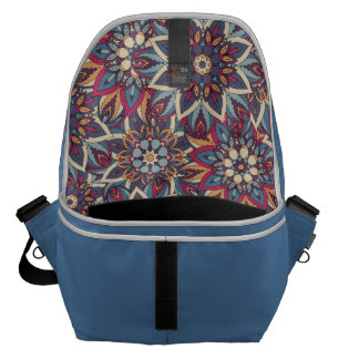 Colorful abstract ethnic floral mandala pattern messenger bag