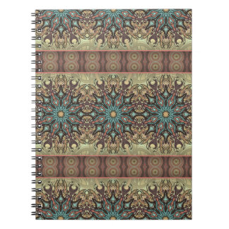 Colorful abstract ethnic floral mandala pattern notebooks