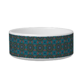 Colorful abstract ethnic floral mandala pattern pet water bowl