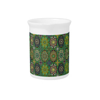 Colorful abstract ethnic floral mandala pattern pitcher