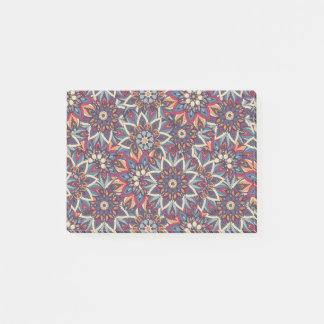 Colorful abstract ethnic floral mandala pattern post-it notes