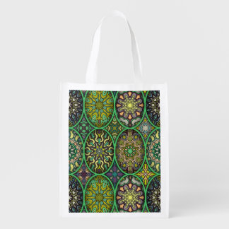 Colorful abstract ethnic floral mandala pattern reusable grocery bag