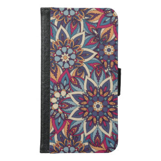 Colorful abstract ethnic floral mandala pattern samsung galaxy s6 wallet case