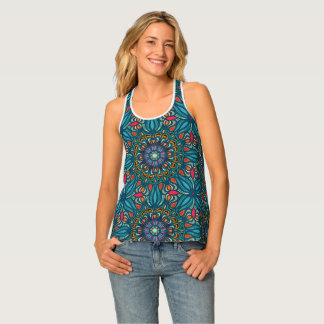 Colorful abstract ethnic floral mandala pattern singlet