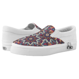 Colorful abstract ethnic floral mandala pattern Slip-On shoes