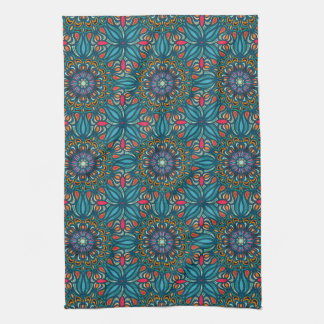 Colorful abstract ethnic floral mandala pattern tea towel