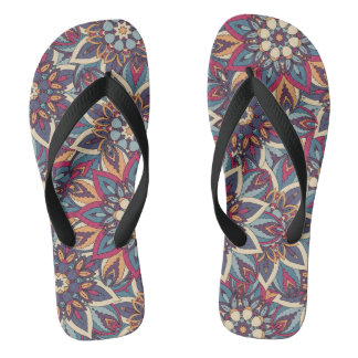 Colorful abstract ethnic floral mandala pattern thongs