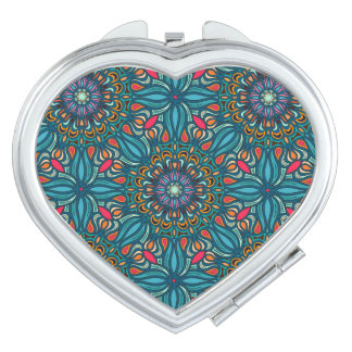 Colorful abstract ethnic floral mandala pattern travel mirror