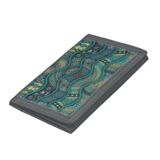 Colorful abstract ethnic floral mandala pattern tri-fold wallet