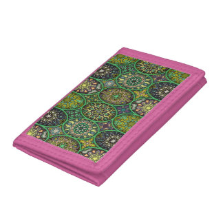 Colorful abstract ethnic floral mandala pattern tri-fold wallets
