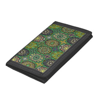 Colorful abstract ethnic floral mandala pattern trifold wallet
