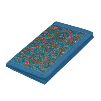 Colorful abstract ethnic floral mandala pattern trifold wallets