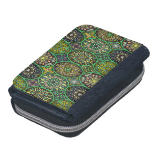 Colorful abstract ethnic floral mandala pattern wallets