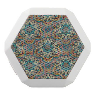 Colorful abstract ethnic floral mandala pattern white bluetooth speaker