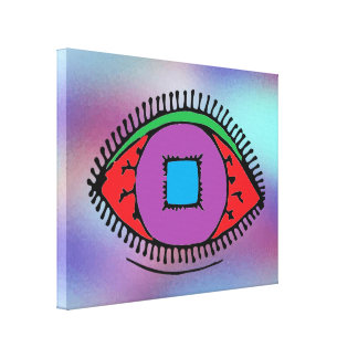 Colorful Abstract Eye Drawing Canvas Print