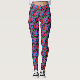 Colorful Abstract Eye Drawing Pattern Leggings