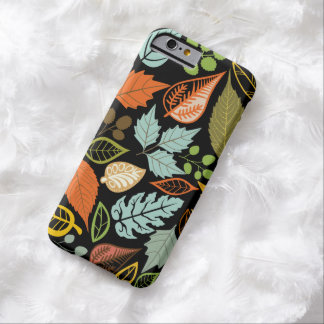 Colorful Abstract Fall Leafs Black Background Barely There iPhone 6 Case