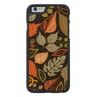 Colorful Abstract Fall Leafs Black Background Carved® Cherry iPhone 6 Slim Case