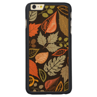 Colorful Abstract Fall Leafs Black Background Carved® Cherry iPhone 6 Plus Slim Case