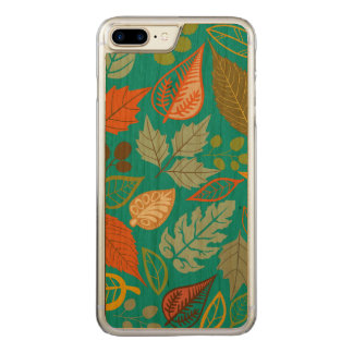 Colorful Abstract Fall Leafs Green Background Carved iPhone 8 Plus/7 Plus Case