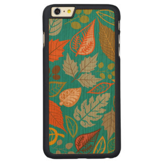 Colorful Abstract Fall Leafs Green Background Carved® Cherry iPhone 6 Plus Slim Case