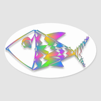 Colorful Abstract Fish Oval Sticker
