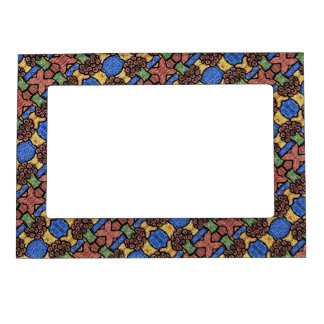 Colorful Abstract Floral Pattern Magnetic Frame