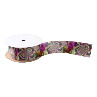 Colorful Abstract Floral Pattern Satin Ribbon