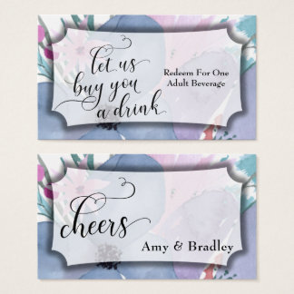 Colorful Abstract Floral Watercolor Drink Tickets