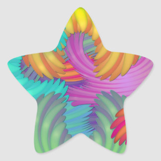 Colorful Abstract Flower Petals Star Sticker