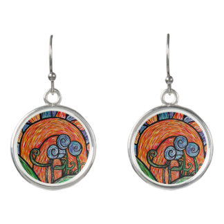 Colorful Abstract Flowers Earrings