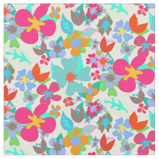 Colorful abstract flowers fabric