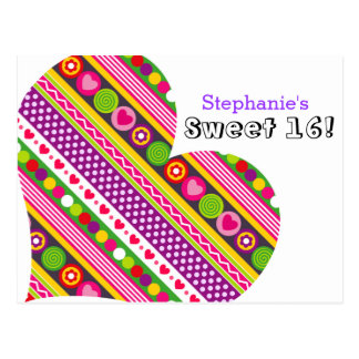 Colorful abstract flowers hearts Sweet 16 Postcard