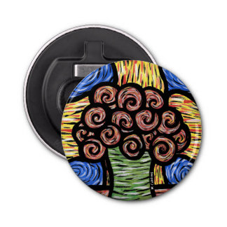 Colorful Abstract Flowers In Vase Bottle Opener