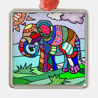Colorful abstract folcloristic elephant painting metal ornament