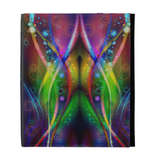 Colorful Abstract Fractal Symmetrical Swirls iPad Folio Covers