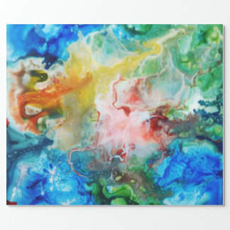 Colorful abstract galaxy painting wrapping paper
