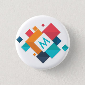 Colorful Abstract Geometric Monogram Pin Button