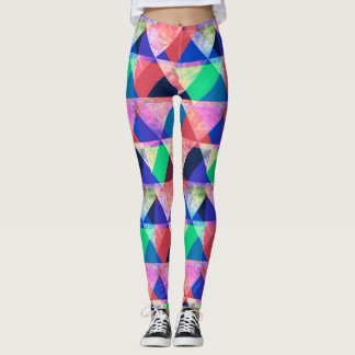 Colorful abstract geometric triangles leggings