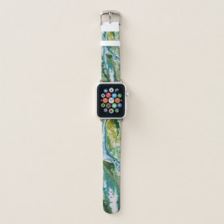 Colorful abstract green blue turquoise waterfall apple watch band