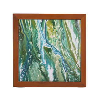 Colorful abstract green blue turquoise waterfall desk organiser