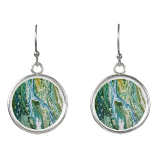Colorful abstract green blue turquoise waterfall earrings