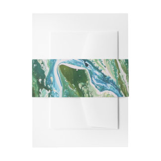 Colorful abstract green blue turquoise waterfall invitation belly band