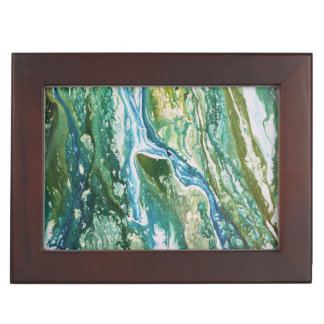Colorful abstract green blue turquoise waterfall keepsake box