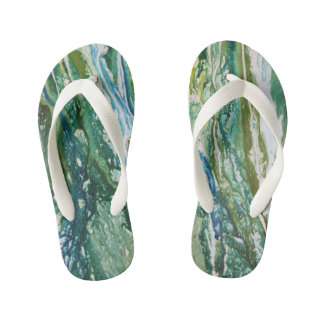 Colorful abstract green blue turquoise waterfall kid's thongs